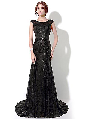 Formal Evening Dress Sheath / Column Bateau Floor-length / Chapel Train with