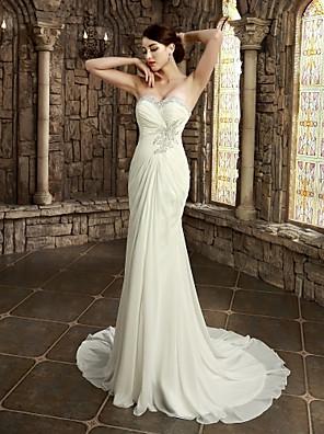 Tubinho Pequeno / Tamanhos Grandes Vestido de Noiva Cauda Capela Tomara que Caia / Coração Cetim com