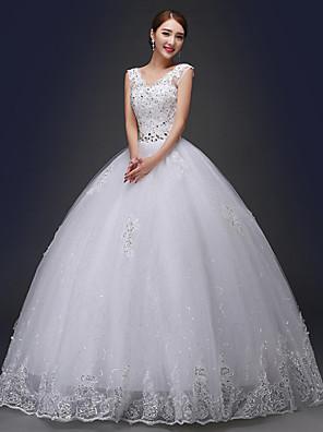 De Baile Vestido de Noiva Longo Decote V Renda com