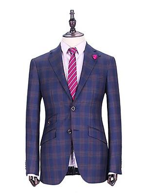 Suits Moderno Notch/ Paletó Comum 2 Butões Lã Gingham 1 Peça Azul Embutido Diagonal Azul