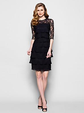 מעטפת \ עמוד פלאס סייז (מידה גדולה) / פטיט שמלה לאם הכלה  באורך  הברך חצי שרוול שיפון / תחרה - תחרה / שכבות