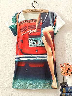 여성의 플로럴 라운드 넥 짧은 소매 티셔츠,섹시 데이트 멀티 색상 면 사계절 중간