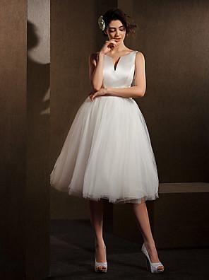 Lanting Bride Ball Gown Petite / Plus Sizes Wedding Dress-Knee-length V-neck Satin / Tulle