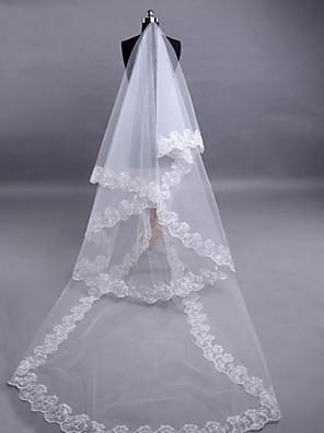 Véus de Noiva Três Camadas Véu Ponta dos Dedos Borda com aplicação de Renda 118,11 em (300 centímetros) Tule / Renda