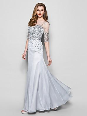Lanting Bride® A-Linie Větší velikosti / Malé Šaty pro matku nevěsty Na zem Poloviční rukáv Šifón / Tyl - Korálky / Flitry