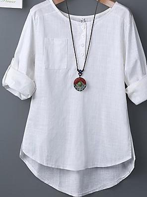 Blusa Da donna Casual Semplice Primavera,Tinta unita Rotonda Cotone Bianco / Verde Manica lunga Sottile