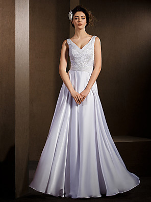 Lanting Bride® A-Linie Drobná / Nadměrné velikosti Svatební šaty Na zem Do V Saténový šifon s