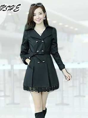 Women cultivate one's morality big yards of lace double-breasted trench coat OUTW3