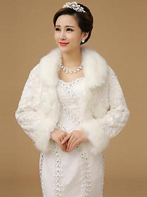 עליונית מפרווה / כורכת חתונה / מעילי פרווה - שרוול ארוך - צמר (לבן