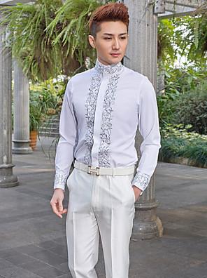 Wzory - Mandarin - Dlouhé rukávy - Košile ( Bílá , Bawełna/Poliester )