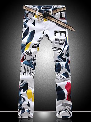 Men's Fashion Color Drawing Flower Print Denim Jeans