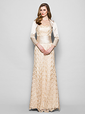 Sheath / Column Plus Size / Petite Mother of the Bride Dress - Wrap Included Floor-length 3/4 Length Sleeve Lace / Satin withSash /