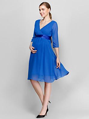 Lanting Bride® Ke kolenům Šifón Šaty pro družičky - A-Linie Do V Větší velikosti / Malé s Mašle / Křížení