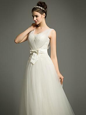 Linha A Vestido de Noiva Cauda Corte Alças Tule com
