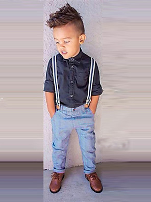 Boy's All Seasons Inelastic Thin Long Sleeve Jeans/Clothing Sets (Cotton Blends)