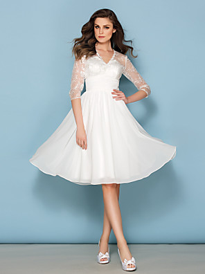 Lanting Bride A-line Petite / Plus Sizes Wedding Dress-Knee-length V-neck Chiffon / Lace