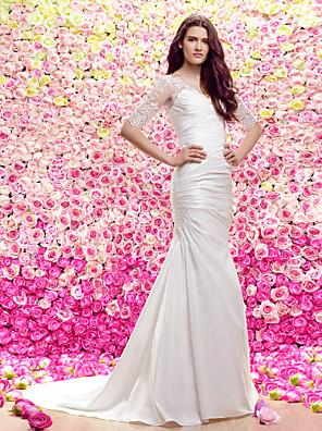 Lanting Bride Sheath/Column Wedding Dress-Court Train V-neck Lace / Satin