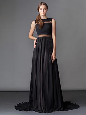ts couture® formelle aften / sort slips galla kjole plus size / kort a-line juvel domstol tog chiffon med draperinger