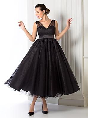 포멀 이브닝 / 회사 파티 드레스 - 1950년대 A-라인 / 공주 V-넥 종아리 길이 튤 와 허리끈/리본