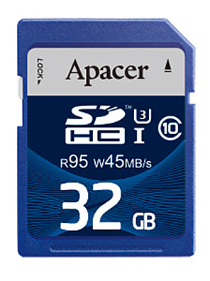 Apacer 32GB Class 10 / UHS-I U3 SD/SDHC/SDXCMax Read Speed95 (MB/S)Max Write Speed45 (MB/S)
