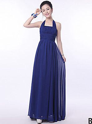 Floor-length Bridesmaid Dress - A-line Halter / One Shoulder / Strapless / V-neck / Straps with