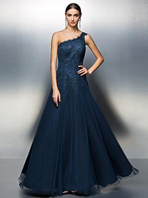 프롬 / 포멀 이브닝 / 블랙 타이 갈라 드레스 A-라인 원 숄더 바닥 길이 튤 와 아플리케