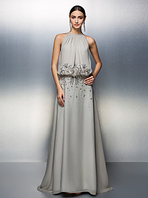 TS Couture® Prom / Formal Evening / Black Tie Gala Dress Plus Size / Petite A-line Jewel Floor-length Chiffon with Beading / Sequins