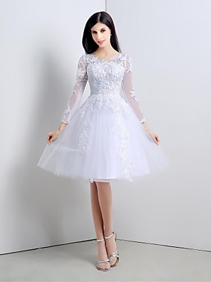 칵테일 파티 드레스 A-라인 V-넥 종아리 길이 레이스 / 튤 와