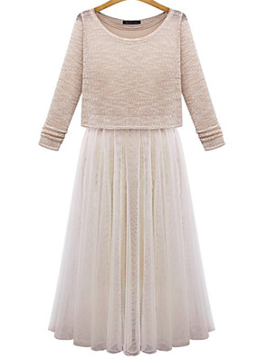 שמלה - מידי - רשת/כותנה - קז'ואל - לא כולל חגורה/עם בטנה