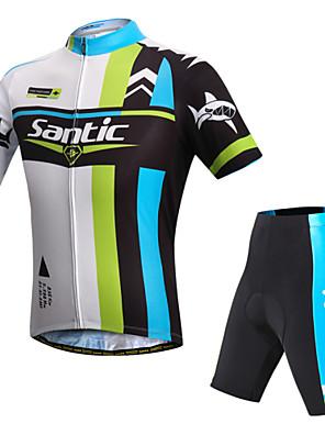 SANTIC® חולצת ג'רסי ומכנס קצר לרכיבה לגברים שרוול קצר אופניים נושם / עמיד אולטרה סגול / רצועות מחזירי אורחולצה+שורטס / שורטים (מכנסיים