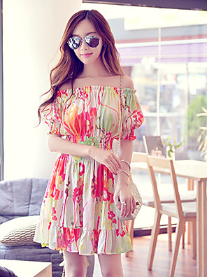 Pink Doll®Women's Bateau Beach/Casual/Print Boho ½ Length Sleeve  Dress