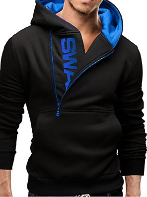 Men's Long Sleeve Hoodie & Sweatshirt , Cotton Blend Pure