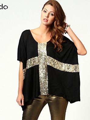 Katoenmixen/Microvezel - Pailletten - Vrouwen - T-shirt - Halflange mouw