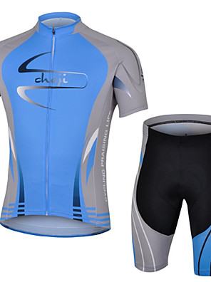 CHEJI® Camisa com Shorts para Ciclismo Homens Manga Curta MotoRespirável / Secagem Rápida / Resistente Raios Ultravioleta / Isolado /