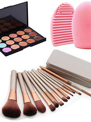 12pcs ferramenta maquiagem caixa de sombra blush em pó fundação jogo de escova cosmético ferramenta de limpeza + 15colors corretivo + 1pcs