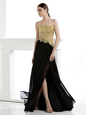 포멀 이브닝 / 블랙 타이 갈라 드레스 시스 / 칼럼 끈없는 스타일 바닥 길이 쉬폰 / 레이스 와 아플리케