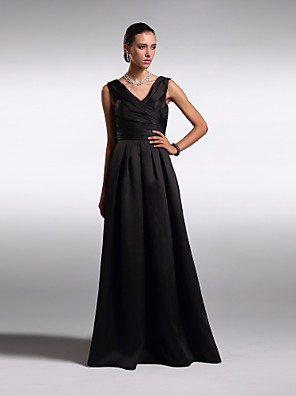 TS Couture® Formal Evening Dress Plus Size / Petite A-line V-neck Floor-length Satin with Criss Cross