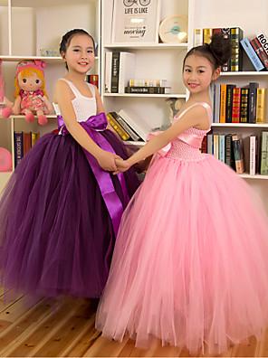 Fantasias Vestidos Crianças Actuação Poliéster Plissado 1 Peça Sem Mangas Princesa Malha Collant
