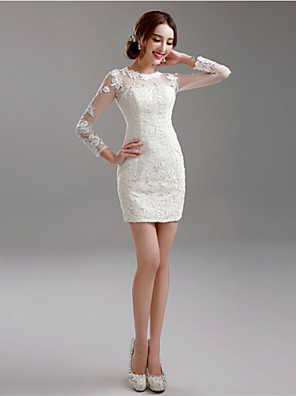 Pouzdrové Svatební šaty Malé bílé Krátký / Mini Klenot Krajka s Aplikace