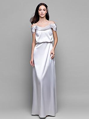 Lanting Bride® Na zem Saténový šifon Šaty pro družičky Pouzdrové Špagetová ramínka s
