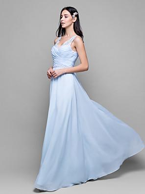 Lanting Bride® באורך הקרסול שיפון / תחרה שמלה לשושבינה - מעטפת \ עמוד צווארון וי עם תחרה / בד בהצלבה
