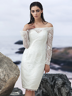 Lanting Bride® Pouzdrové Svatební šaty - Elegantní & luxusní Malé bílé / Krajka / Průsvitné Ke kolenům Spadlý Krajka s