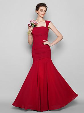 Lanting Bride® Na zem Šifón Šaty pro družičky Mořská panna Čtvercový Větší velikosti / Malé s Sklady