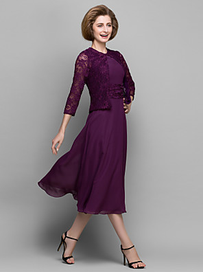 A-line Mother of the Bride Dress Tea-length 3/4 Length Sleeve Chiffon / Lace with Lace / Ruching