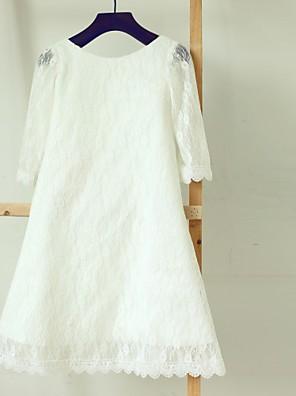 Ίσια Γραμμή Κάτω από το γόνατο Φόρεμα για Κοριτσάκι Λουλουδιών - Δαντέλα Μακρύ μανίκι Μπατώ με Δαντέλα