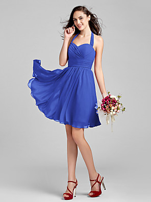 Lanting Bride® באורך  הברך שיפון שמלה לשושבינה - גזרת A קולר פלאס סייז (מידה גדולה) / פטיט עם בד בהצלבה / סלסולים