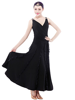High-quality Milk Fiber with Ruffles Ballroom Dance Dresses for Women's Performance/Training  (More Colors)