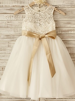 Princess Knee-length Flower Girl Dress - Lace / Tulle Sleeveless Scoop with Bow(s) / Sash / Ribbon
