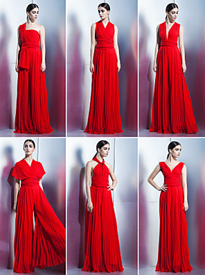 TS Couture® Formal Evening / Family Gathering Dress A-line Halter / One Shoulder / V-neck Floor-length Chiffon with