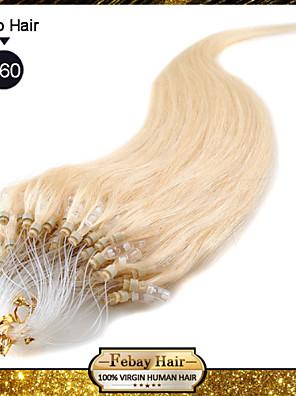 """20 """"wit blonde (# 60) 100s micro loop human hair extensions"""